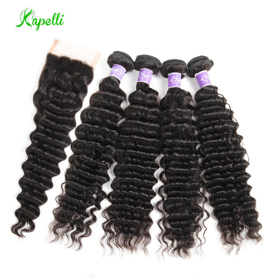 Brazilian Deep Wave Bundles With Closure Human Hair 4 Bundles With Closure Deep Curly Brazilian Hair Weave Bundles NonRemy Hair
