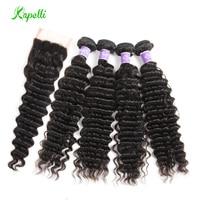 Brazilian Deep Wave Bundles With Closure Human Hair 4 Bundles With Closure Deep Curly Brazilian Hair Weave Bundles Remy Hair