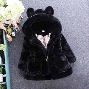 Image 3 - חדש אופנה חורף תינוק בנות בגדי פו פרווה צמר מעיל תחרות חם מעיל חג המולד חליפת שלג 1 8Y תינוק ברדס מעיל הלבשה עליונה