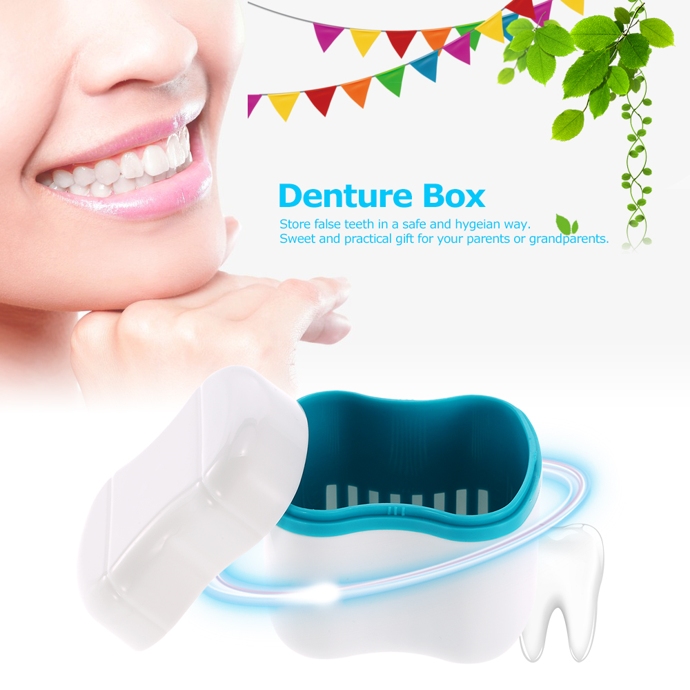 Denture bath box case dental false teeth cleaning container rinsing basket retainer appliance holder tray