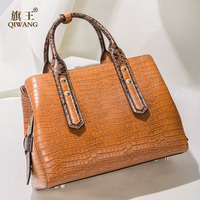 QIWANG 100% Genuine Leather Handbag Yellow Brown Crocodile Cow Leather Handbags Fashion Office Lady Retro Hand Bag High Quality