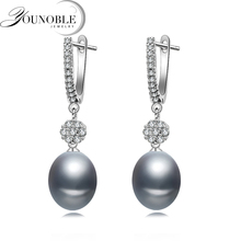 Grey natural freshwater pearl earring for women,wedding 925 sterling silver bohemia bridal earrings gift