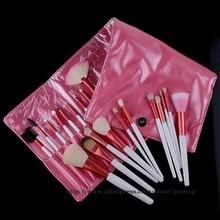 Wholesales eyeshadow 20pcs professional Goat hair Makeup Brushes sets powder brush kit with leather bag 10sets/lot free shipping