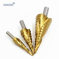 Free Shipping New 3pcs HSS Spiral Grooved Core Cone Step Drill Bits Triangle Shank 4mm To