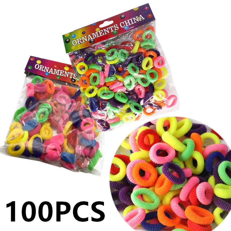 100 шт Случайные цветные детские Резиночки для волос бесшовные резинка производитель волос эластичные резинки головной убор аксессуары для волос резинка для волос