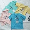 Crianças de verão de algodão t-shirt impressos tops meninos meninas doce cor M e M engraçado t-shirt infantis da moda roupas casuais