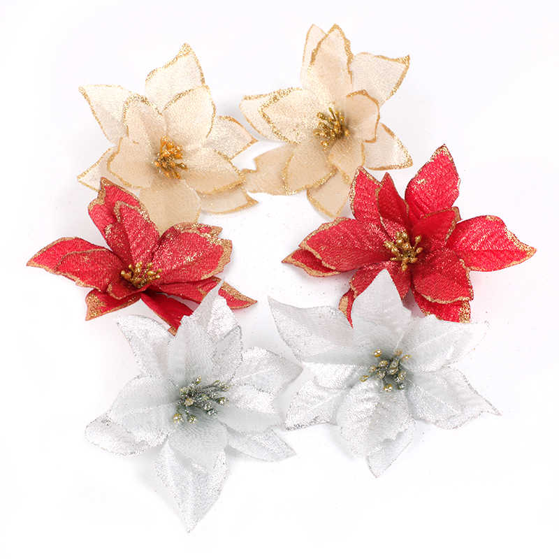 10pcs Red Glitter Poinsettia Flower Christmas Tree Ornaments Christmas Decorations for Home Xmas New Year Decor Party Supplies