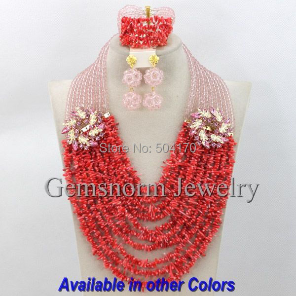 Pretty Pink African Beads Jewelry Set Nigerian Wedding Coral Crystal Jewelry Set Brides Gift Jewelry Sets  Free Shipping CNR189