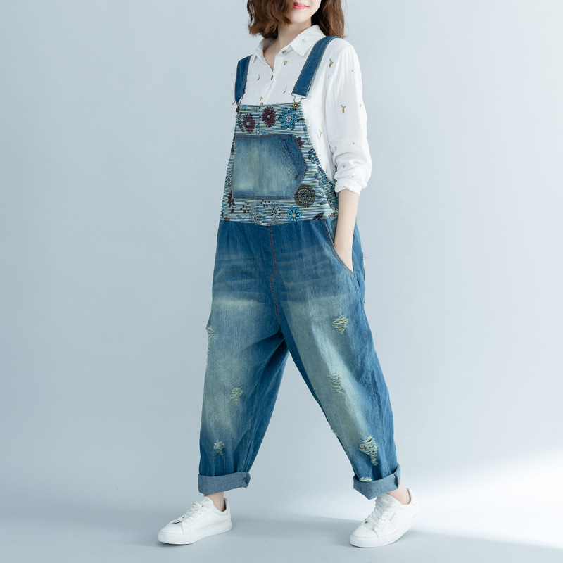 Wide Leg Bib Denim Overalls Large size Baggy Cowboy Strap Trousers Bleached Ripped Hole jean   Jumpsuits   hanging crotch Rompers