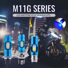 RTD M11G Motorcycle Headlight Bulbs H4 HS1 LED BA20D H6 12V White High Low Lamp Scooter ATV Accessories Blue DRL Day Lights