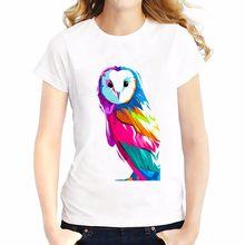 Красочные Сова живопись футболка летние футболки Топы корректирующие  дышащий комфорт футболка o-шеи короткий рукав для девочек Ф.. 39324af3df538