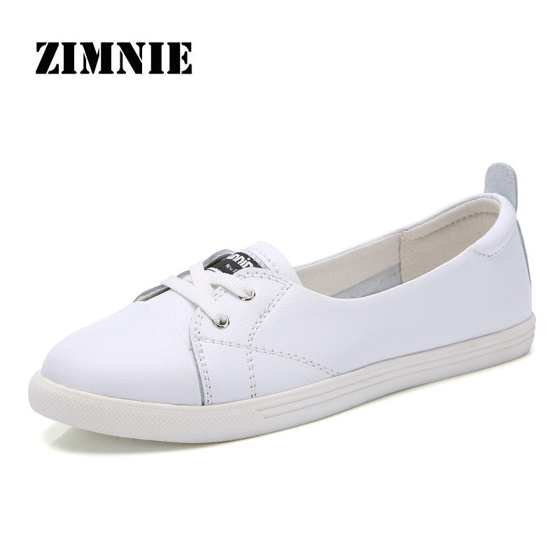 ZIMNIE Brand Woman Ballet Shoes Cut Out Leather Breathable Moccasins Woman Boat Shoes Ballerina Ladies Flats Shoes Size 35~40