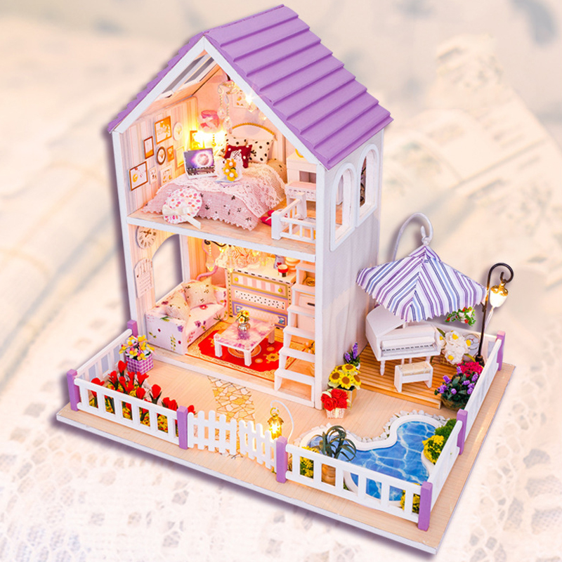 DIY DollHouse Villa Model Miniature With Furnitures Wooden Doll House Puzzles Toys Christmas Gift Romantic Purple House 13834 #E 13834 diy doll house miniatures villa dollhouse miniature wooden building model furniture model for child toys
