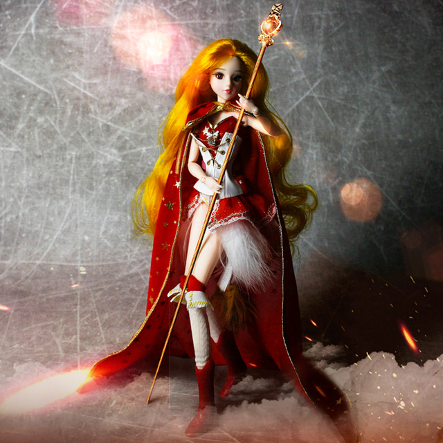 BJD MMgirl Leo 12 Constellations Series 14 Joint Body with Red Cloak Boots and Doll Stand