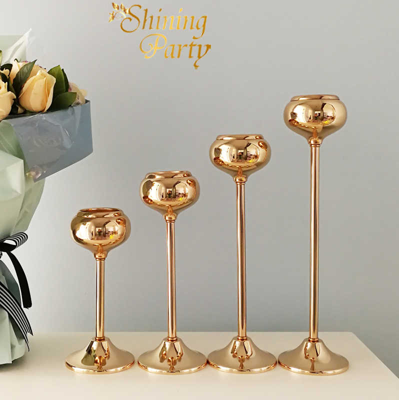 New! Gold Metal Candle Holder,Wedding Centerpiece, Candlestick, Flower Vase, Free Ship, Wedding Party Christmas Home Decoration