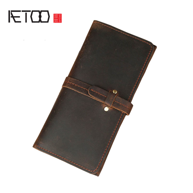AETOO Crazy horse leather wallet male thin pumping belt leather female multi-card retro hand wallet men and women long wallets jialante python skin women wallet female long style real snake leather manual super thin simple multi card female clutch bag