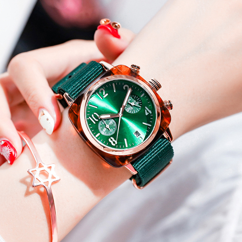 High quality Retro canvas wristwatch with square watch student couple Korean version simple female