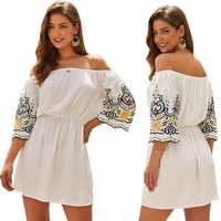 Fashion Design Hot Women White New Off the Shoulder Suit dress Embroidery Strapless Half Sleeve A LineElegant Mini Dress S XL