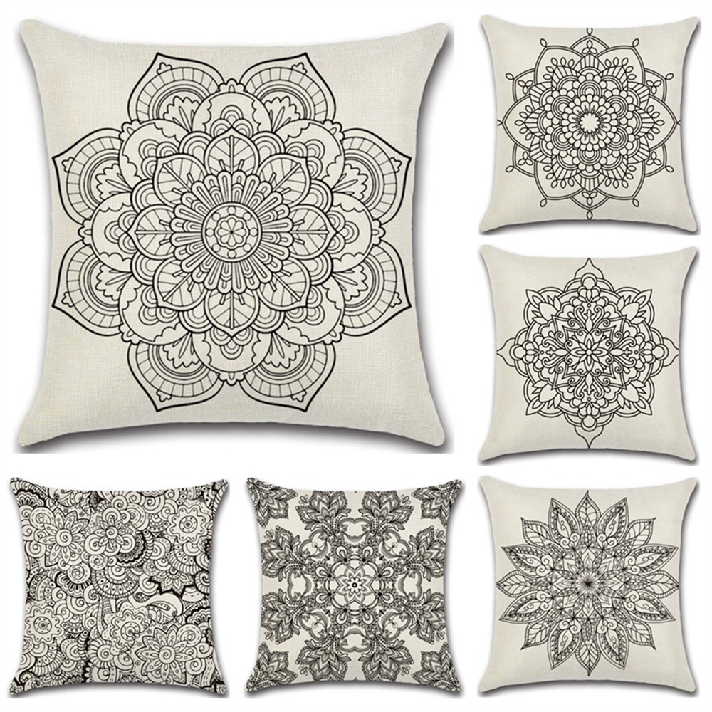 Simple Geometric flower grey black classical Cushion Cover Pillow cases Sofa car seat shop Home party house Decorations gifts