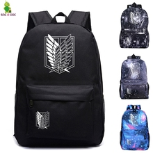 Attack on Titan Backpacks Women/Men's School Bags Traveling Bags Teenage Notebook Backpack Canvas Anime Mochila Pusheen bag цена в Москве и Питере