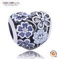Original Genuine 925 Sterling Silver Poéticas Flores Encanta os Visitantes Com Violeta CZ Esmalte Flores Charme Beads Fit Pandora Pulseira Jóias