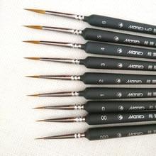 Pincel profesional de pintura de Lobo, juego de pinceles de pelo de nailon, Pluma de línea de dibujo, suministros de arte, A45