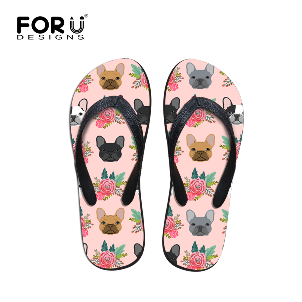 FORUDESIGNS Fashion 2018 Women Slippers Summer Cartoon Cute French Bulldog Floral Print for Girl Flip Flops Beach Casual Sandals lining splicing floral print casual wide hem organza midi skirt for women