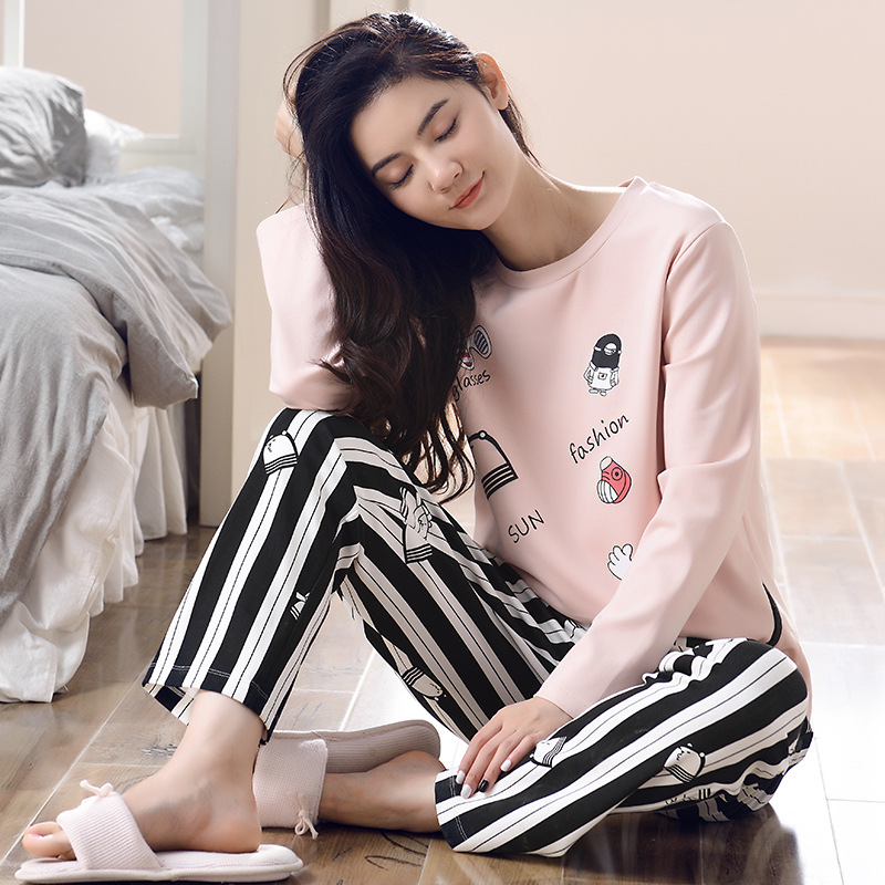 Cotton Polyester Women Pijama Sleepwear Winter Female Pajamas Sets Thick Warm Female Suit Long Sleeve Pyjamas Women Home Clothes