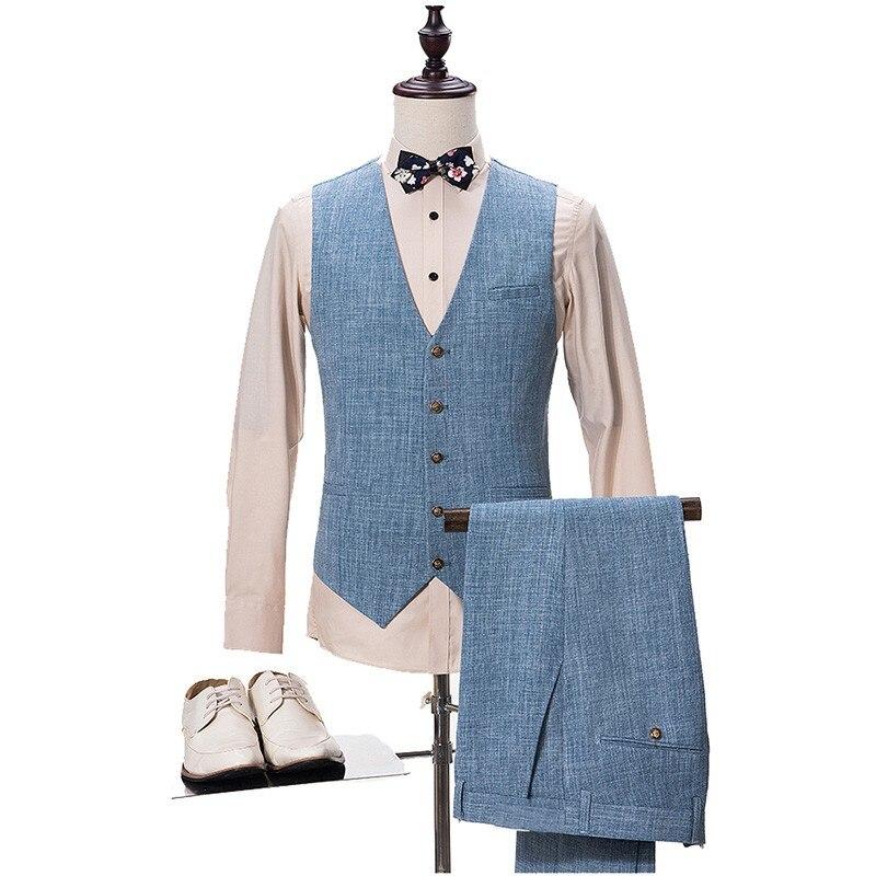 TPSAADE Nieuwe Blauw Pak Mannen Slim Fit Wedding Suits voor Mannen Zomer Strand Bruidegom Blazer Suits Mannen 3 Stuk Terno masculin-in Pakken van Mannenkleding op  Groep 3