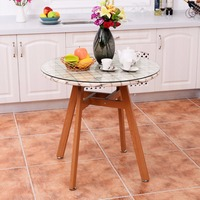 Goplus Round Dining Table Steel Frame Tempered Glass Top Modern Table Wooden Leg Desk Home Decor Kitchen Furniture HW54171