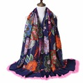 New Fashion Bohemia Style Flowers Printed Scarf Women Spring Winter Big Size Warm Cotton Scarf Shawls