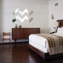 Mirror Wall Stickers Walls Sticker Decals Decoration Home Room Acrylic Brick Rectangle Geometry Simple Shape Tiles R161