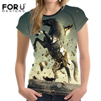 FORUDESIGNS Cool Horse Women T Shirt Summer Woman Tops Unicorn Breathable Female Shirts For Girls Short