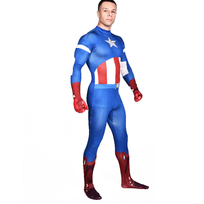captain america costume adult blue full bodysuit zentai superhero cosplay party halloween costumes for men jumpsuits custom in holidays costumes from