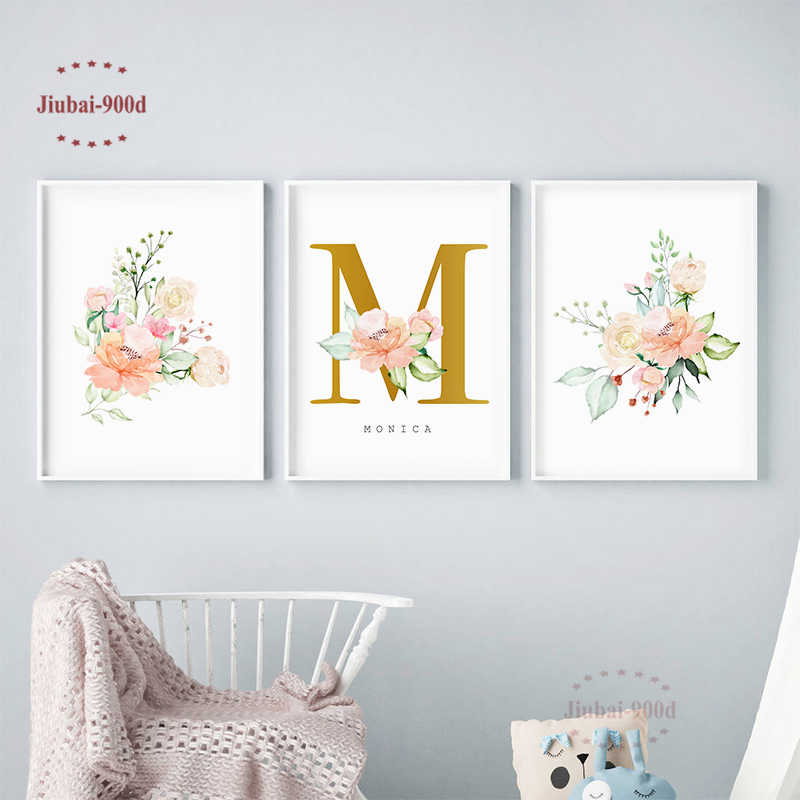 Personalized Name Custom Poster Flowers Baby Room Wall Decoration Nursery Posters And Prints Canvas Painting Wall Art SAN101