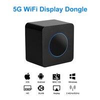 AV HD WiFi Display Dongle 5G & 2.4G Dual band Wireless Screen Mirroring Adapter 1080P H RJ45 Ethernet Port Screen Sharing Device