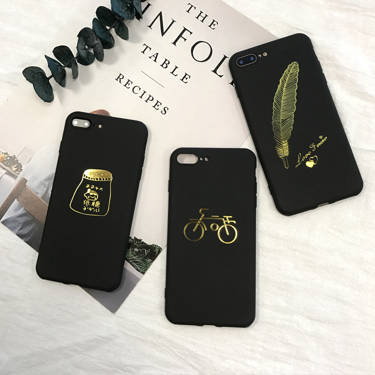 SZYHOME Phone Cases for IPhone 6 6s 7 Plus Gold Feather Black Frosted Silicon TP