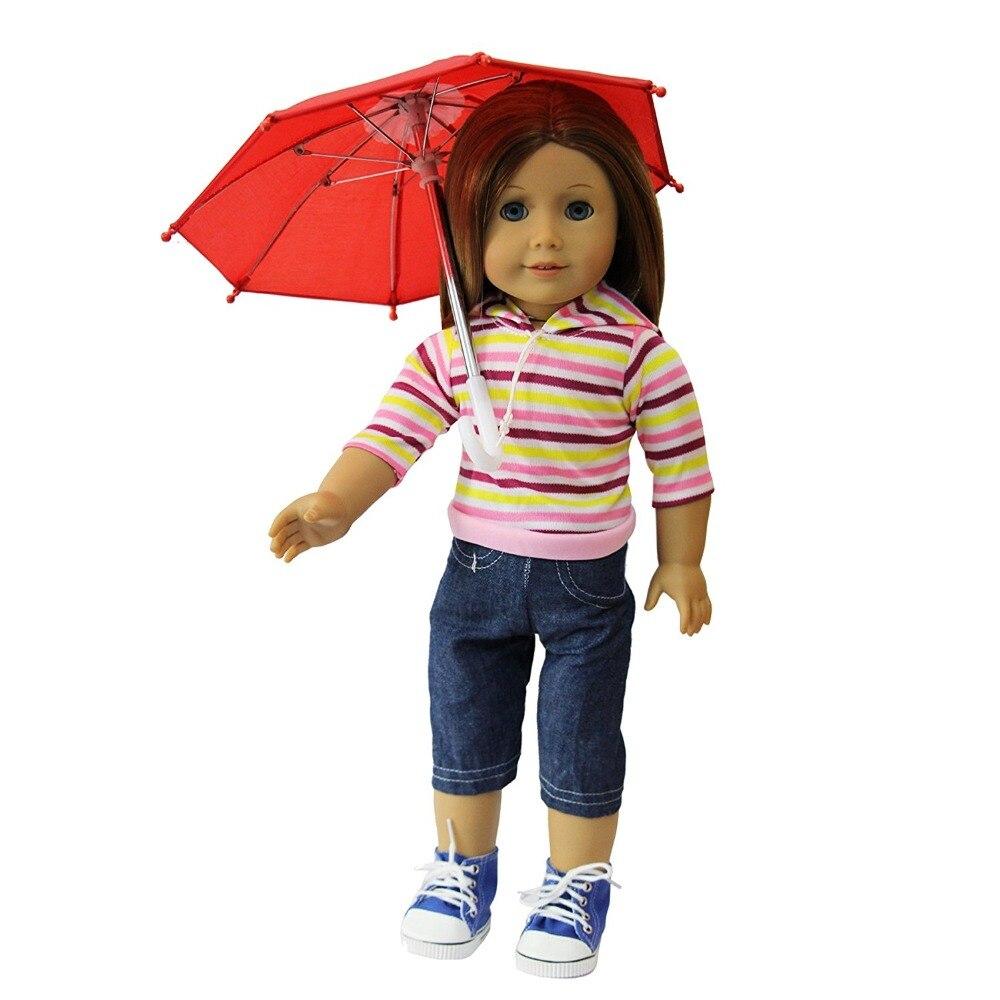 Linda Muñeca Juguetes hechos a mano Mini Paraguas para 18 pulgadas - Muñecas y accesorios - foto 2
