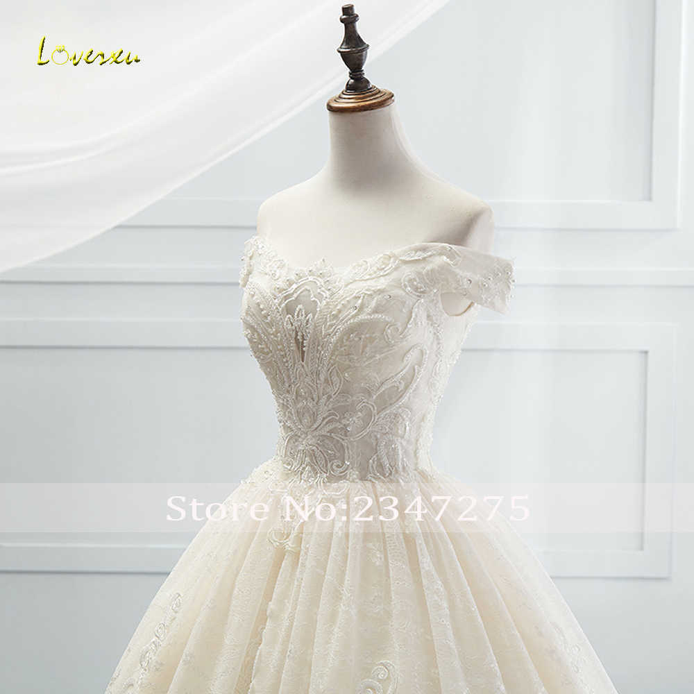 Loverxu кружевной вырез лодочкой Винтаж бальное платье свадебное платье 2019 Royal поезд аппликации из бисера Свадебное платье принцессы Vestido De Noiva