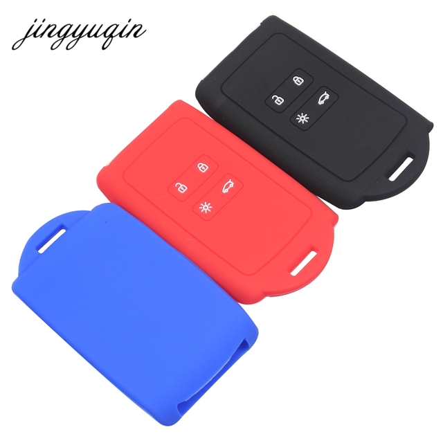 jingyuqin Silicone Car Key Cover Set for Renault Koleos Kadjar Megan 2016 2017 Remote Key Holder Protector Case