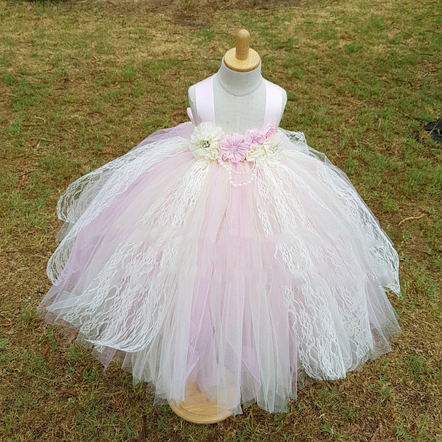 03995df5d Beautiful Girls Lace Dresses Baby Flowers Long Tutu Dress Straps ...