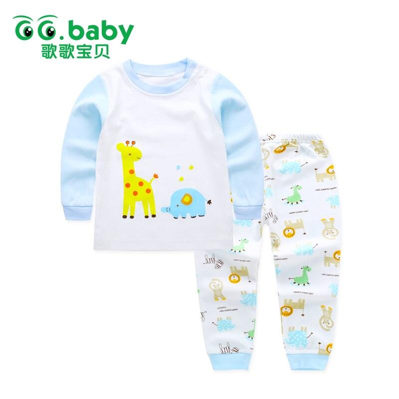 052a03c4 Niños Que Arropan el sistema Pijamas Conjuntos Niños Niñas Camiseta  Pantalones Kit traje de Bebé Recién