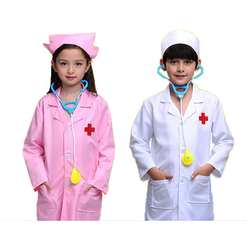 Children Cosplay Doctor Costumes Halllween Party Nurse Wear Fancy Boys Girls Clothing Set Toys Kids Jackets Roleplay Wholesale