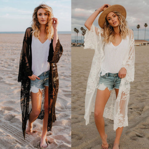 Us 999 Women Beach Cover Up Beach Dress Chiffon Lace Kimono Cover Up Boho Casual Long Sleeve Cardigan Monokini Bathing Lace Dress In Cover Ups From