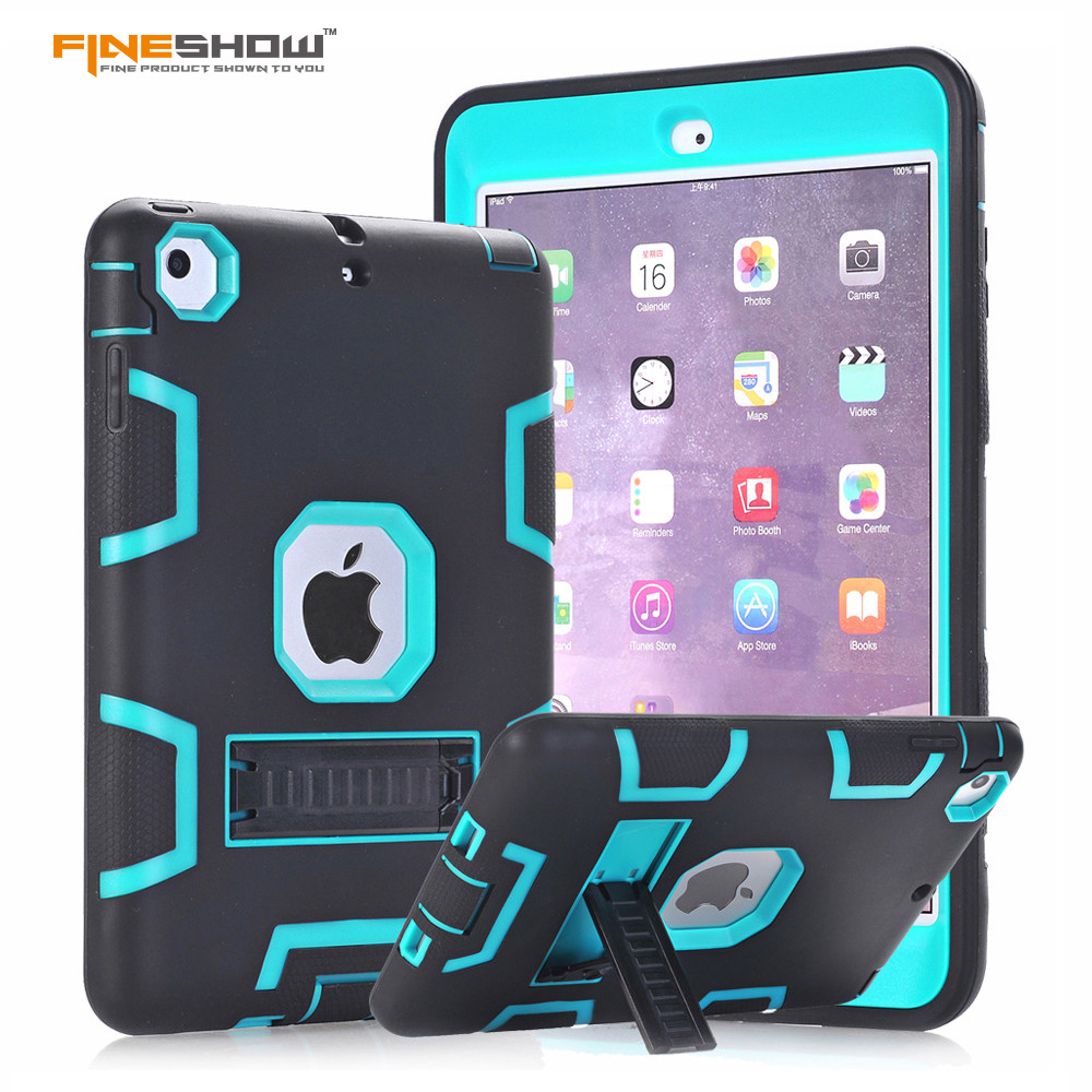 Fineshow For Apple iPad Mini 1/2/3 Case Cover High Impact Resistant Hybrid Three Layer Heavy Duty Full Body Armor Defender