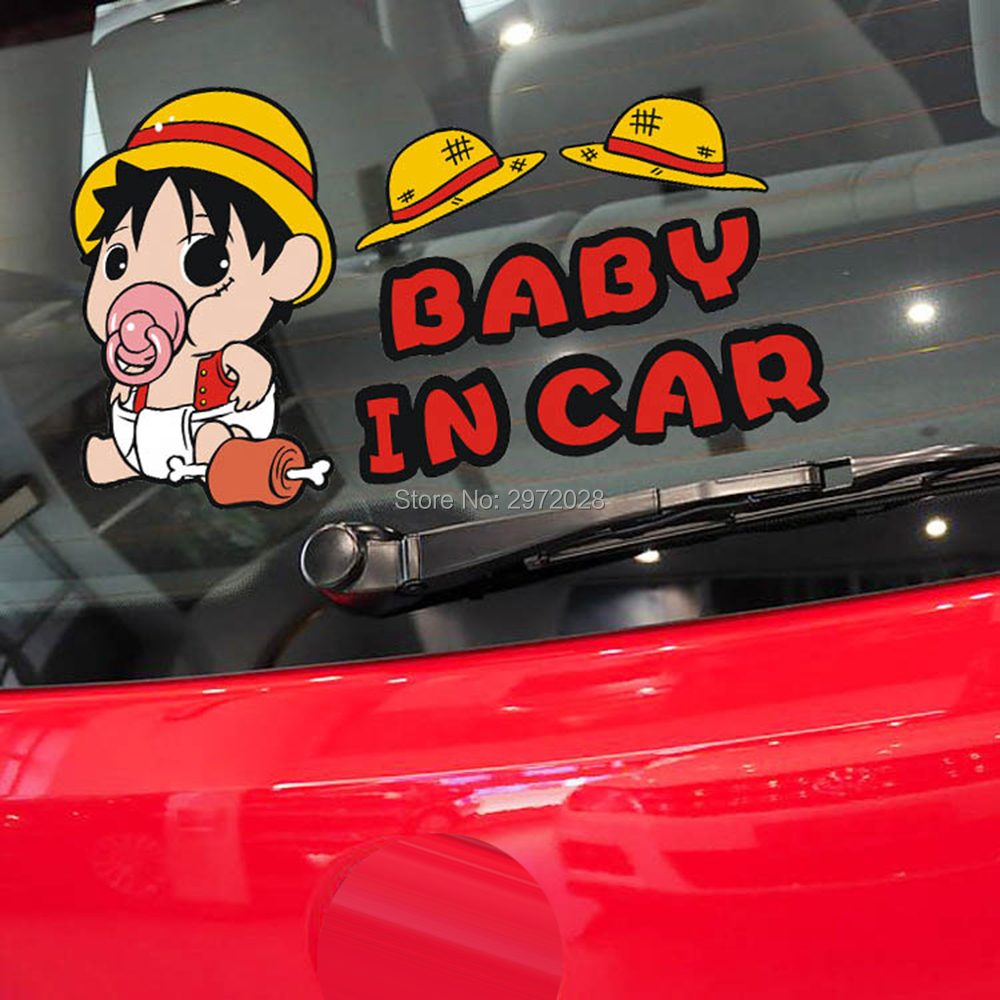 10 X Car Covers Car-styling Cartoon One Piece Luffy Baby In Car Car Stickers Decal For Ford Toyota Chevrolet Vw Honda Mazda Opel
