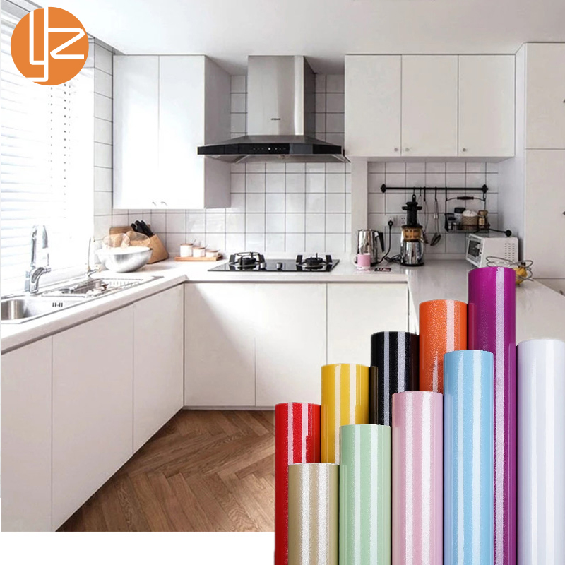 yazi Gloss Shining Solid Color Self-adhesive Removable Sticker Kitchen Shelf Liner Wallpaper Sticker Mural Home Decor stainless steel sink drain rack