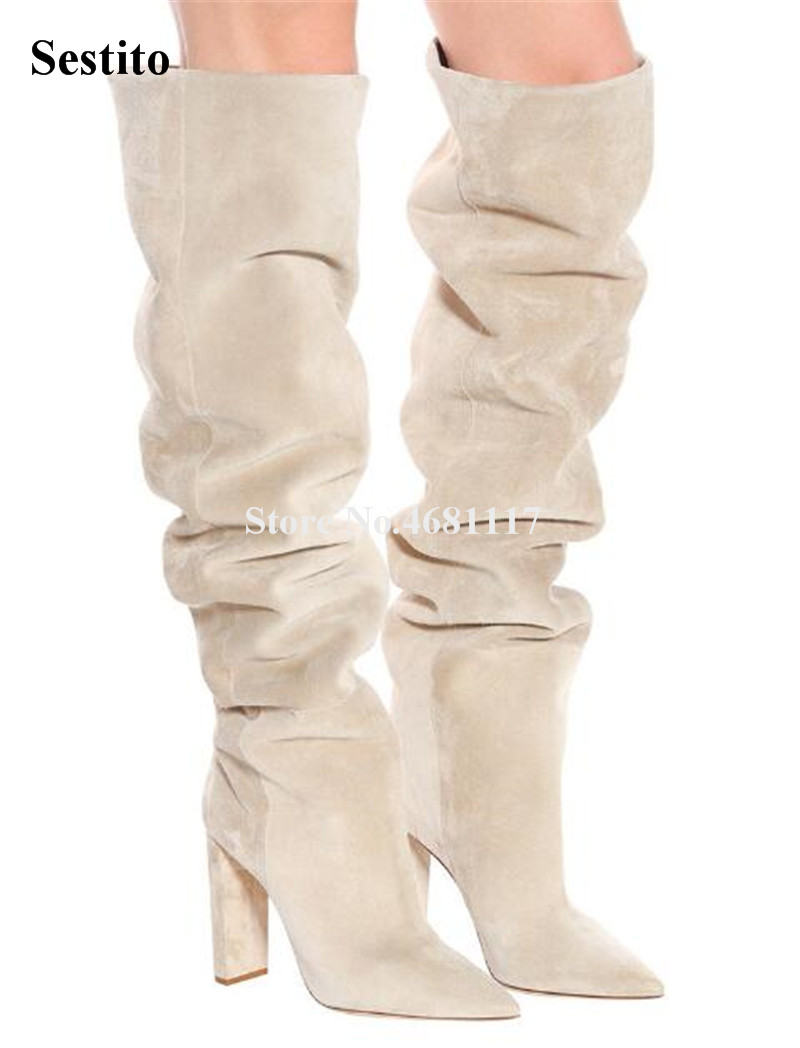New Design Women Fashion Pointed Toe Suede Leather Loose Over Knee Chunky Heel Boots Beige Long Thick Heel Boots Motorcycle BootNew Design Women Fashion Pointed Toe Suede Leather Loose Over Knee Chunky Heel Boots Beige Long Thick Heel Boots Motorcycle Boot