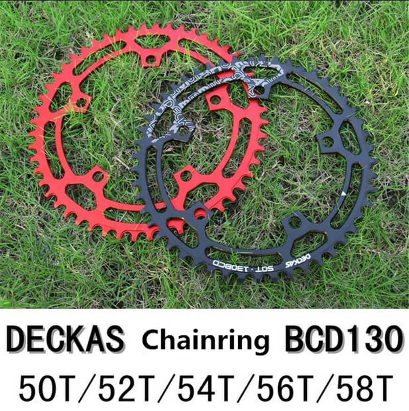 DECKAS roue à chaîne ronde 130 BCD 50 T/52 T/54 T/56 T/58 T plateau pour vtt vélo de route anneau de chaîne de vélo grand anneau