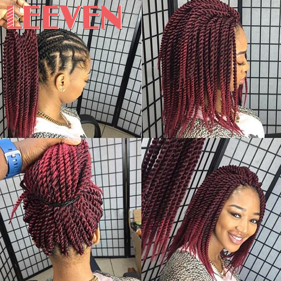 Leeven Senegalese Twist Crochet Braid Hair 12inch 24inch Synthetic Braiding Hair Extension High Temperature Fiber Crochet Hair